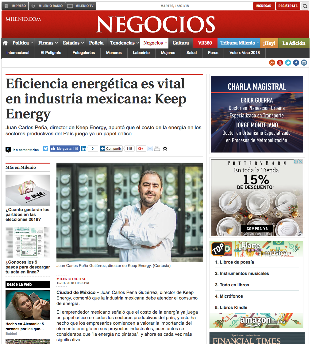Prensa Keep Energy 2018 / Milenio